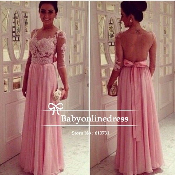 Free Shipping 2014 Sexy Nude Back Pink Lace Chiffon Floor Length ...