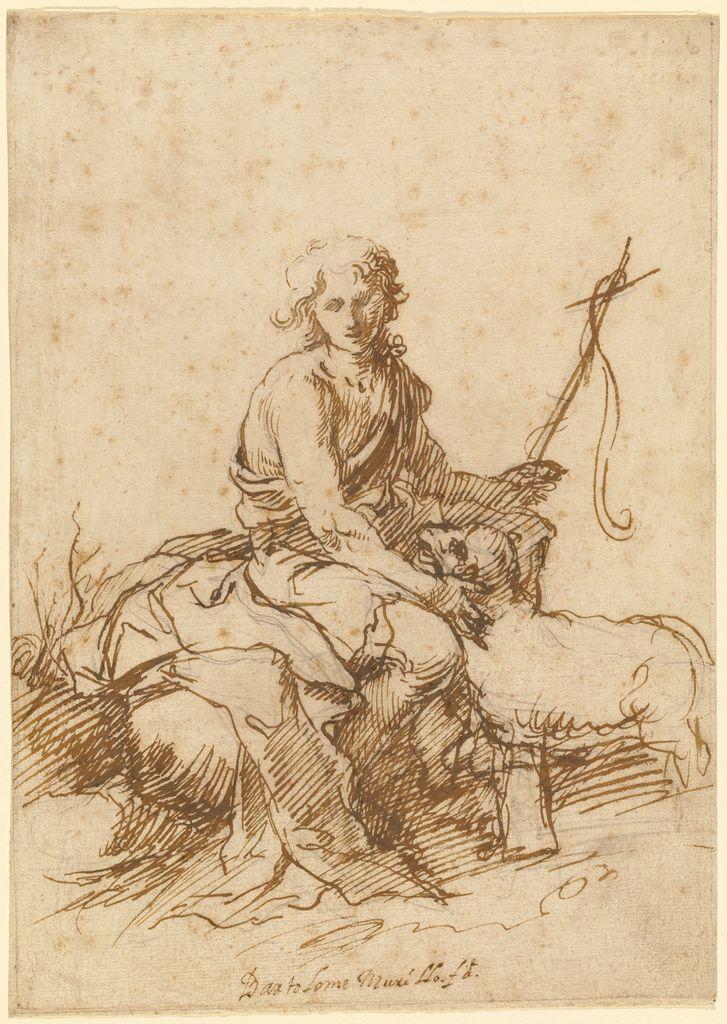 Bartolomé Esteban Murillo – The Youthful Saint John the Baptist, 1655; Pen and…