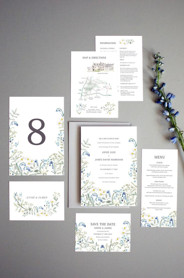 Wild Blue Hedgerow Stationery | by Hollyhock Lane Wedding invitation ...