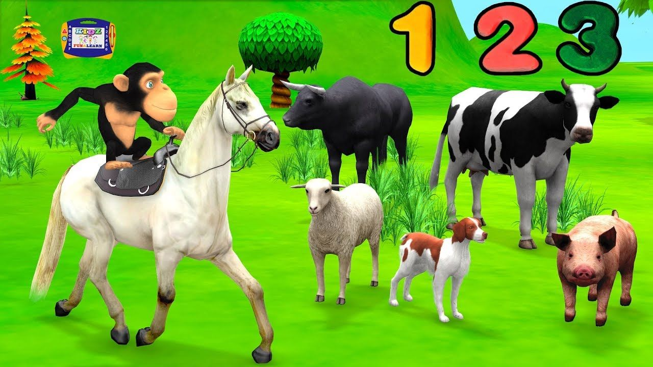 Monkey Horse Riding at Farm to Learn Numbers and Farm