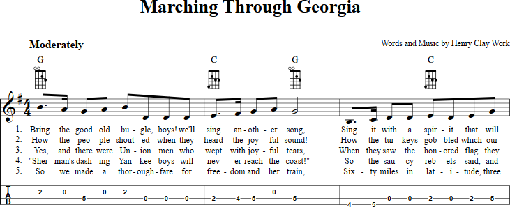 Marching Through Georgia Sheet Music For Mandolin With Chords
