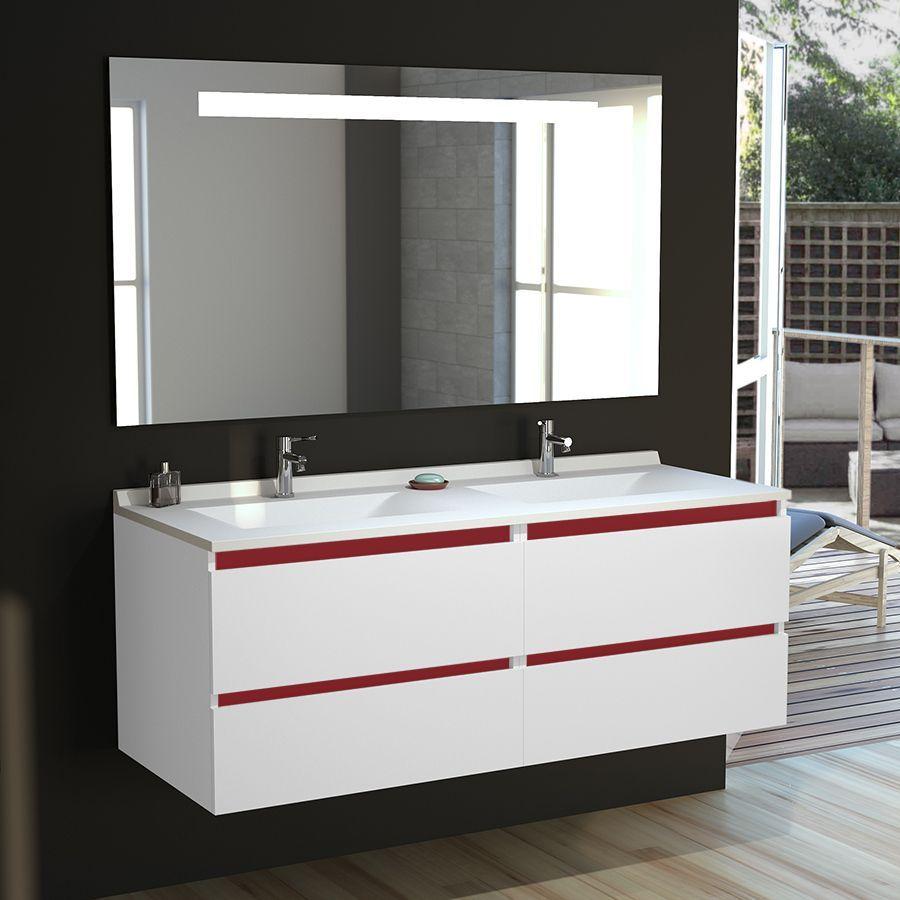 Meuble double vasque ARLEQUIN 18x18 cm avec plan vasque et miroir