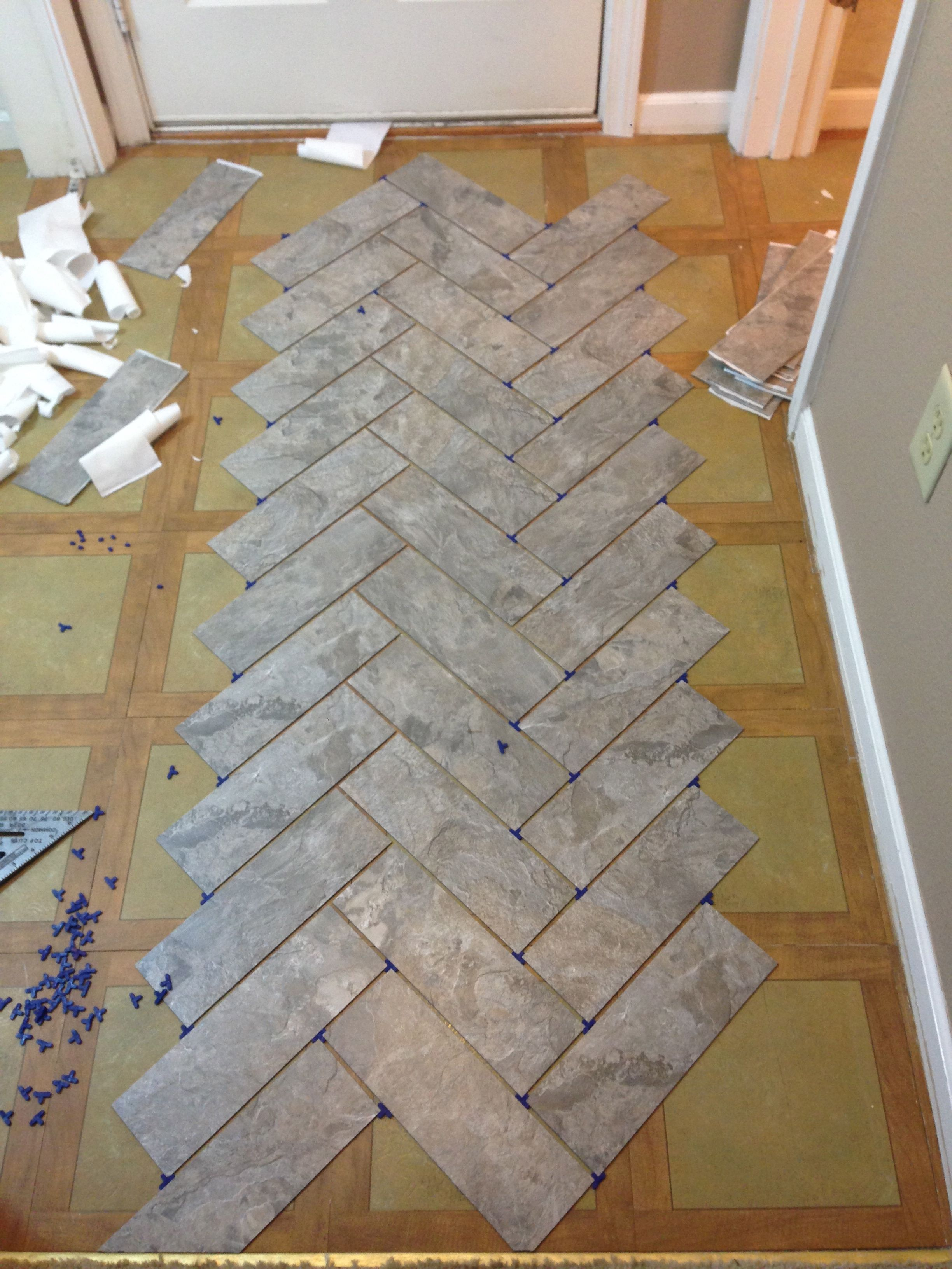 Diy herringbone vinyl tile pattern via grace gumption for Stick on vinyl flooring