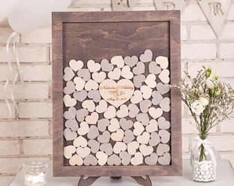 Wedding Guest Book Alternative Rustic Guestbook Heart Personalized Dropbox For Handmade