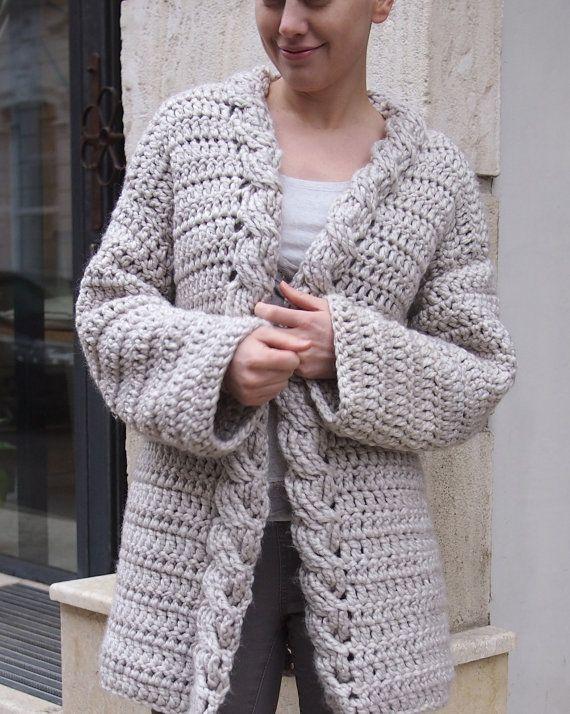 Crochet Pattern cable women cardigan, bulky coat , Very Winter ...