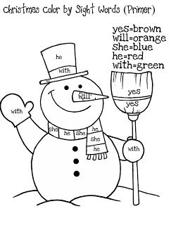 Freebielicious Color By Sight Words Christmas Learning Christmas Kindergarten Winter Kindergarten