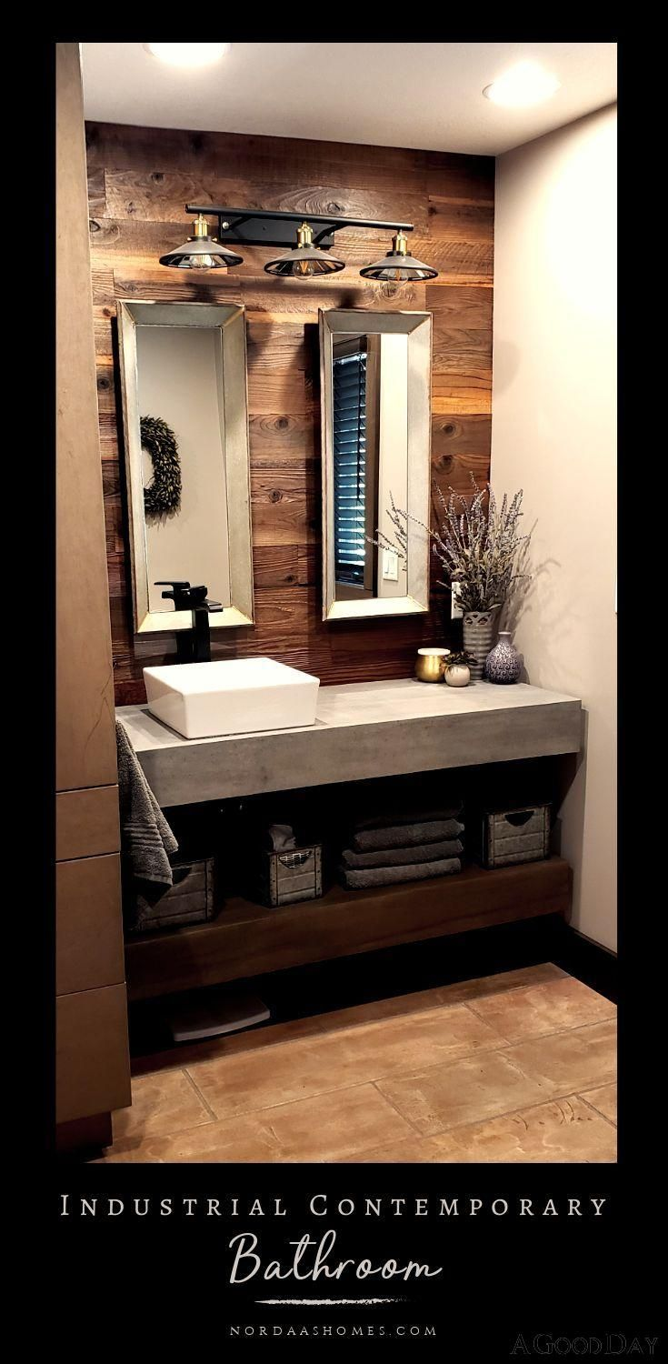 Photo of Here is a stunning example of industrial meets modern contemporary design styles! This bathroom features a concrete / cement countertop with reclaimed wood shiplap, open shelving in the vanity and industrial decor that could easily go farmhouse style also! This was a remodel done by Nordaas American Homes! #nordaashomes #industrial #modern #bathroom #contemporary #concrete #cement #reclaimedwood #design #ideas #style #decor #farmhouse #shiplap #openshelving #vanity #halfbath #powderbath