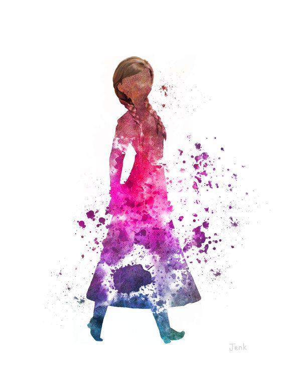 anna frozen art print | Anna, Frozen ART PRINT illustration, Princess, Disney, Mixed Media ...
