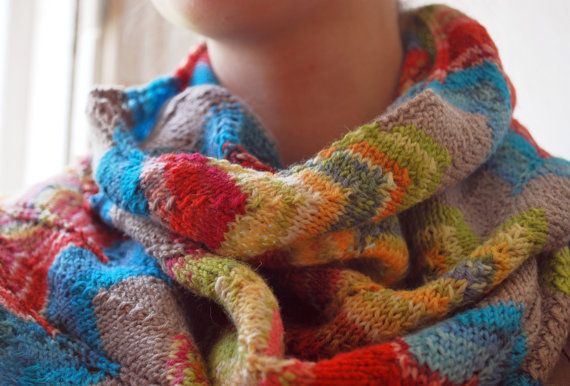 Hand knit colorful rainbow wool scarf 2a56e7331bf