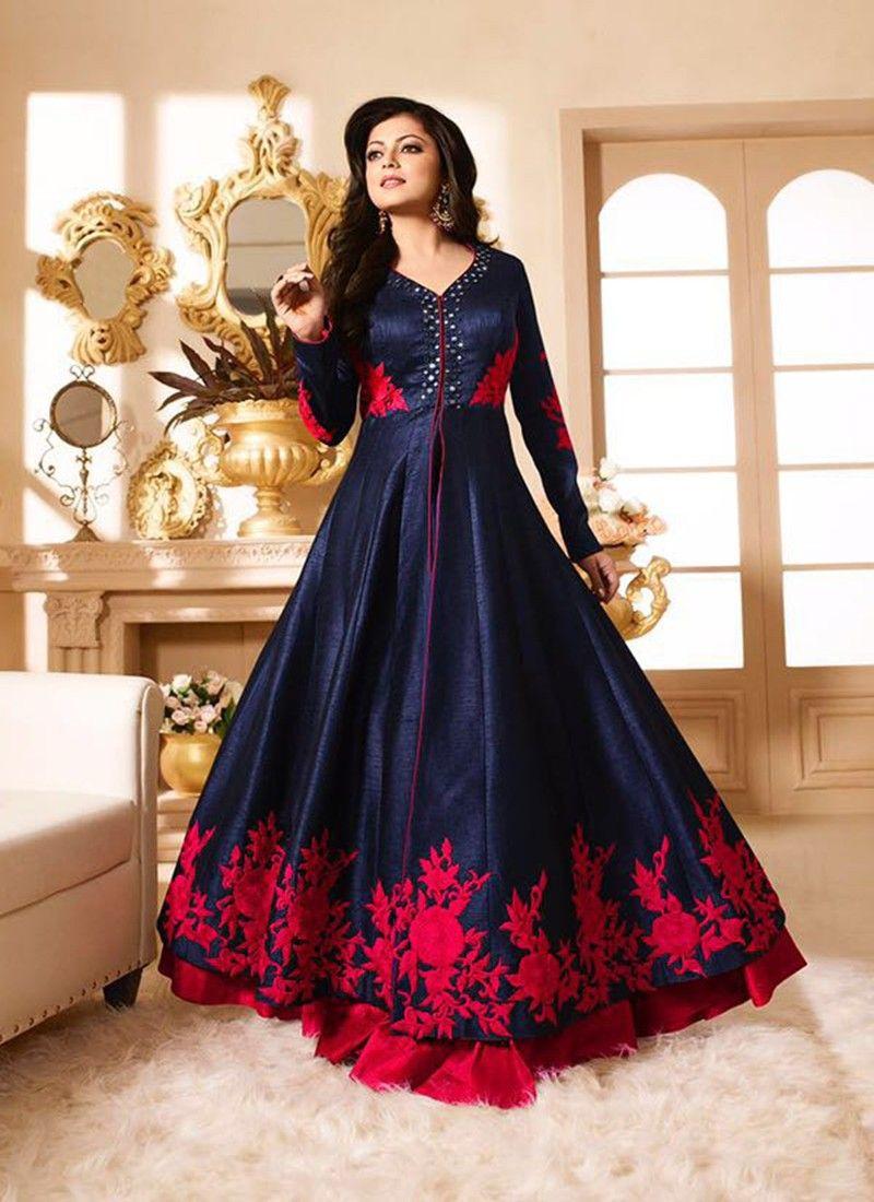 50bd2af0d Drashti Dark Blue  amp  Magenta Pure Silk Designer Anarkali Suit   anarkali indian designer