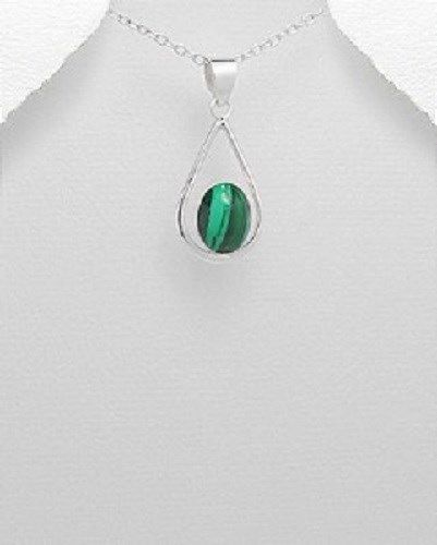 STERLING SILVER ALOHA MAUI TEARDROP WITH MALACHITE GREEN STONE PENDANT NECKLACE #Pendant