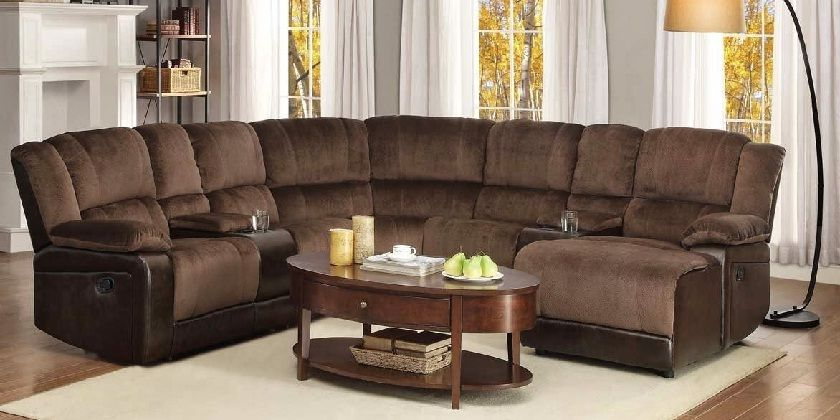 Sectional Recliner Sofa With Cup Holders In Chocolate Microfiber Sectional Sofa With Recliner Microfiber Sectional Couch Reclining Sofa