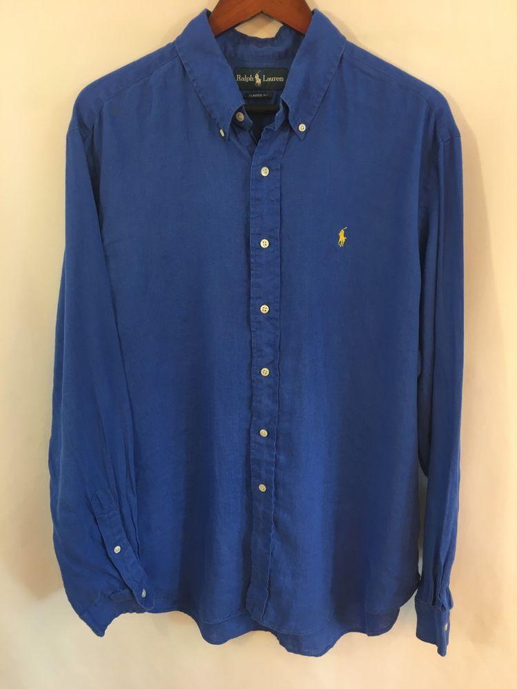 a62474da00 Polo Ralph Lauren Mens XL 100% Linen Button Front Casual Shirt Royal Blue   fashion  clothing  shoes  accessories  mensclothing  shirts (ebay link)