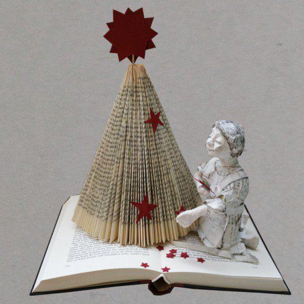 diy weihnachtsbaum aus buch falten weihnachten. Black Bedroom Furniture Sets. Home Design Ideas