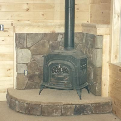 Corner Wood Stove Hearth Ideas Cultured Stone Hearth With Dyed