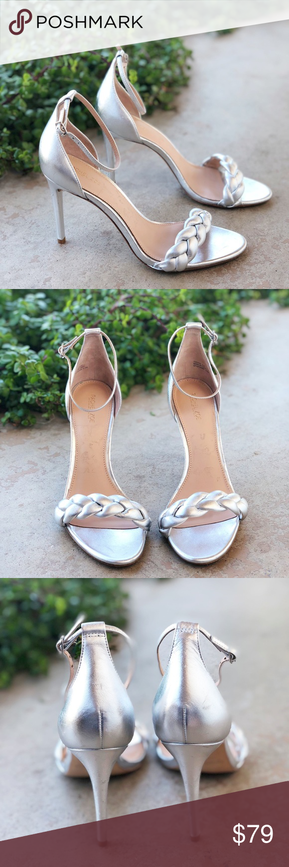 b564a766502 Rachel Zoe Ashton Silver Metallic Braided Heels Features  Silver metallic  color