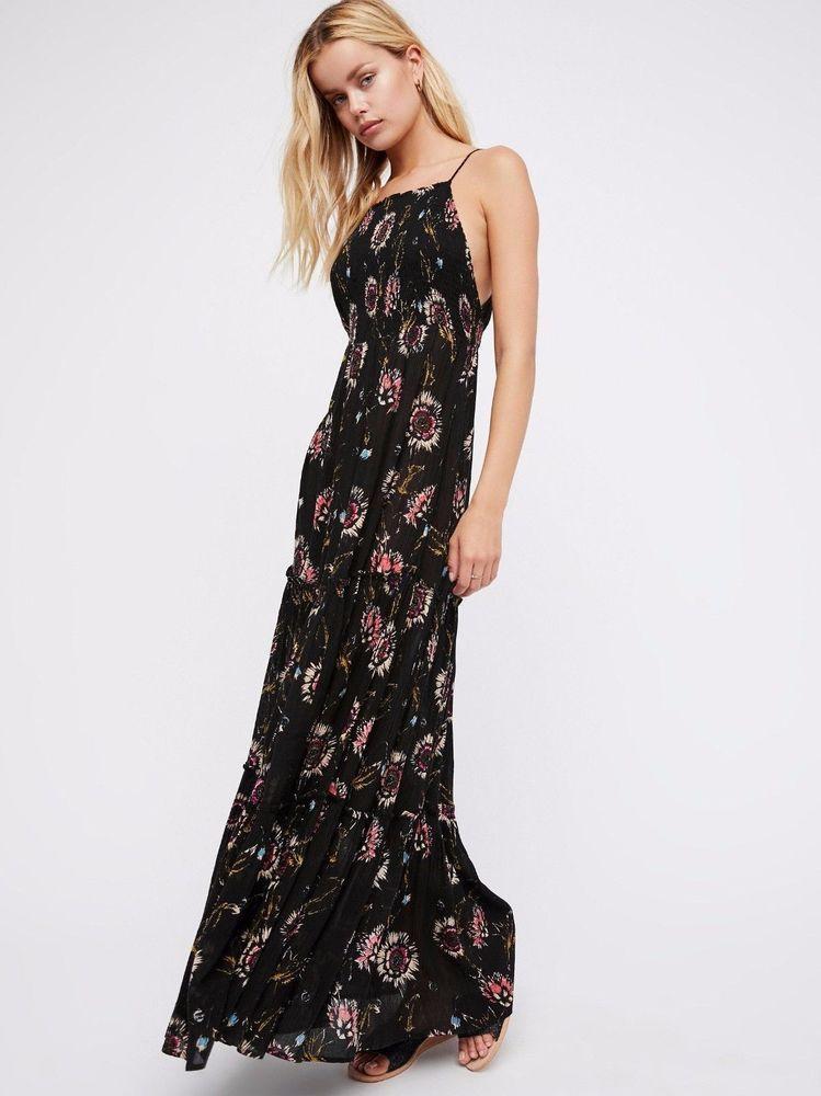 ebbe3e457d9 Free People Women s Garden Party Tiered Maxi Dress Black Multi XS NWOT  128   FreePeople  MaxiDress