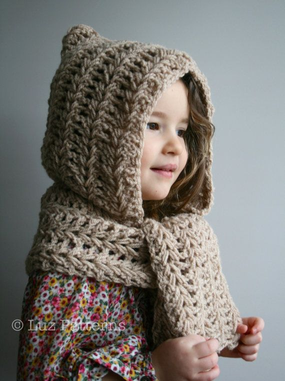 Crochet Pattern, INSTANT DOWNLOAD crochet hat pattern, hooded scarf ...