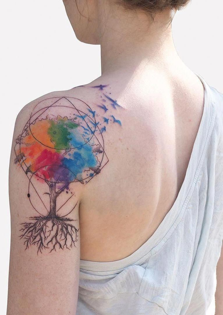 Watercolor Tree Tattoo With Geometric Touches C Tattoo Artist Baris Yesilbas Coolgeometri Abstract Tattoo Art Inspired Tattoos Watercolor Tattoo Tree