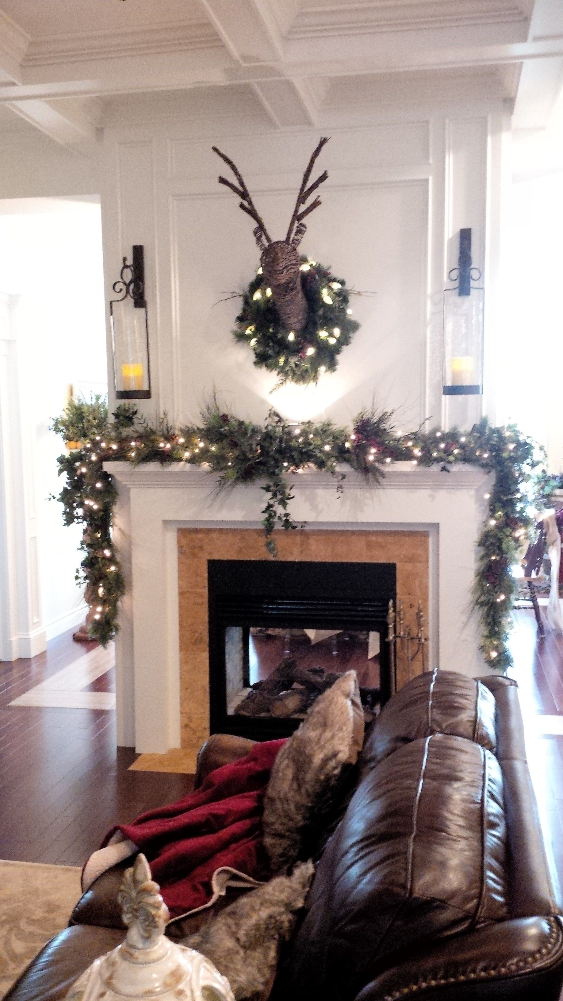 The second side of the two sided fireplace Living room in