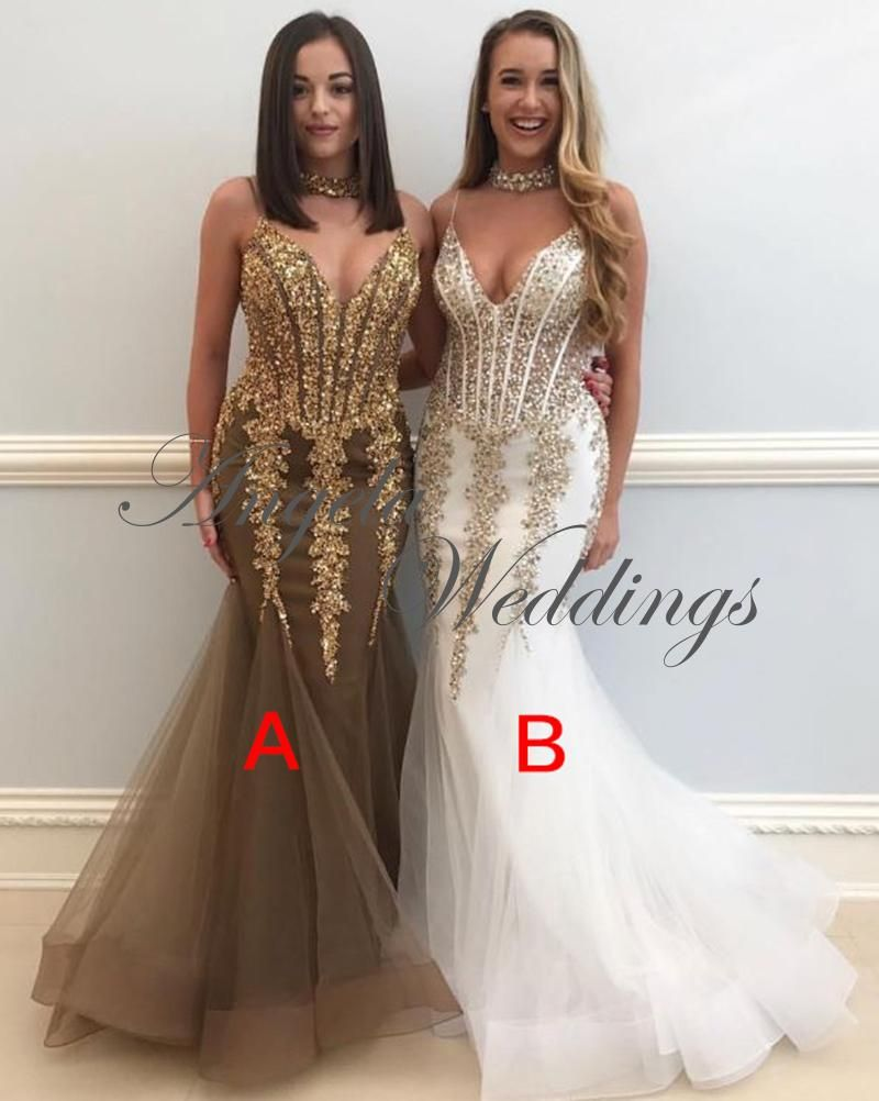 Sexy gold lace mermaid evening dresses with spaghetti prom