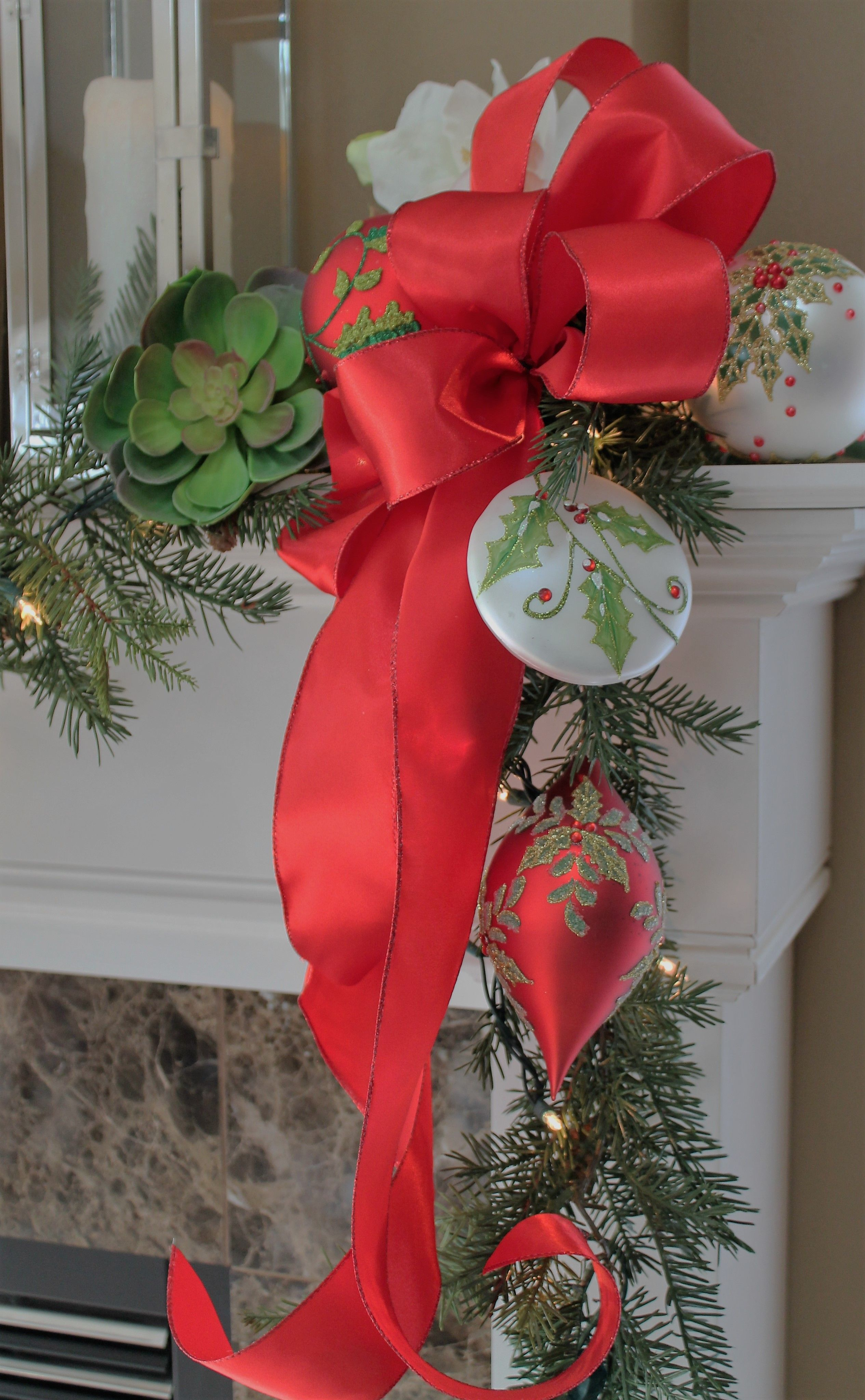 Design And Decorate The Mantel With Ornaments And Succulents From