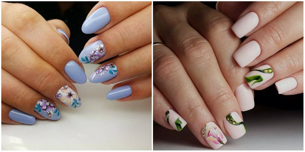 Nail Designs 2019: Flowers on nails: Acrylic nail design ...