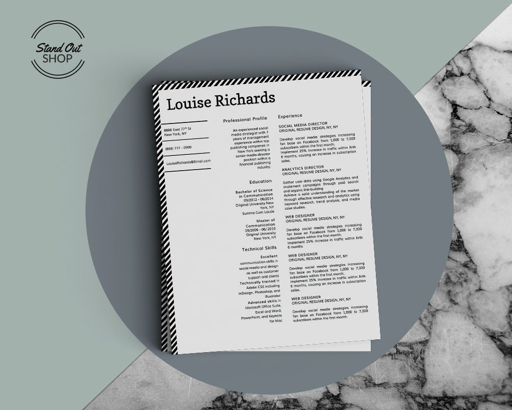 Modern Resume Format%0A Louise Richards Resume Template