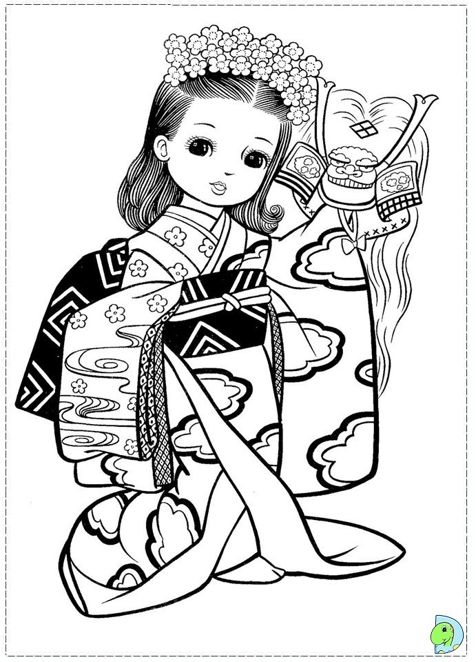 Japanese Girl Coloring Page Dinokids Org Coloring Pages For Girls Coloring Pages Colouring Pages