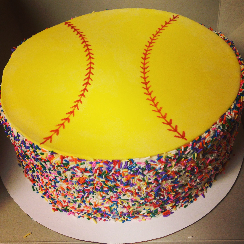 Admirable Softball Birthday Cake Softbal En Gebak Personalised Birthday Cards Paralily Jamesorg
