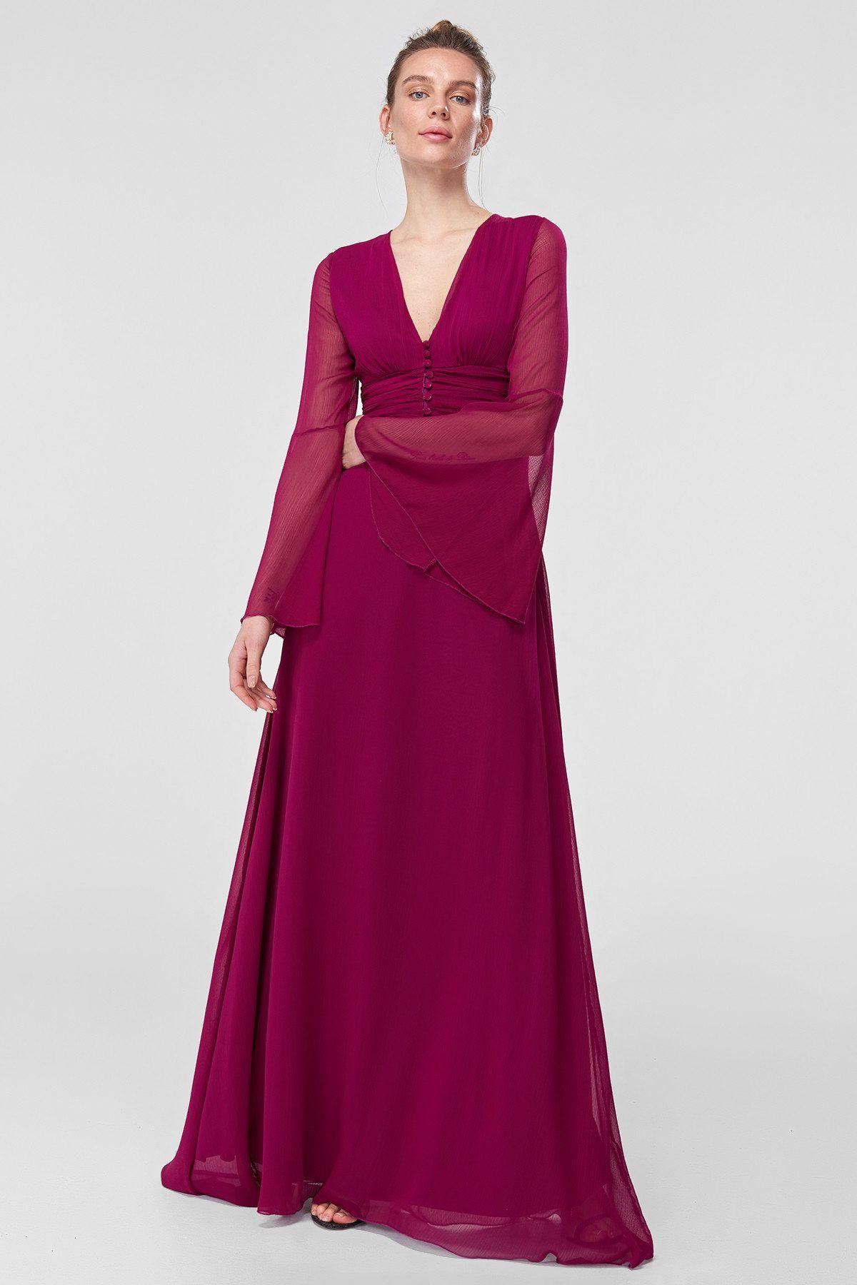 Mor Dugme Detayli Abiye Elbise Tprss18fz0141 Trendyolmilla Trendyol Elbise Modelleri Elbise The Dress