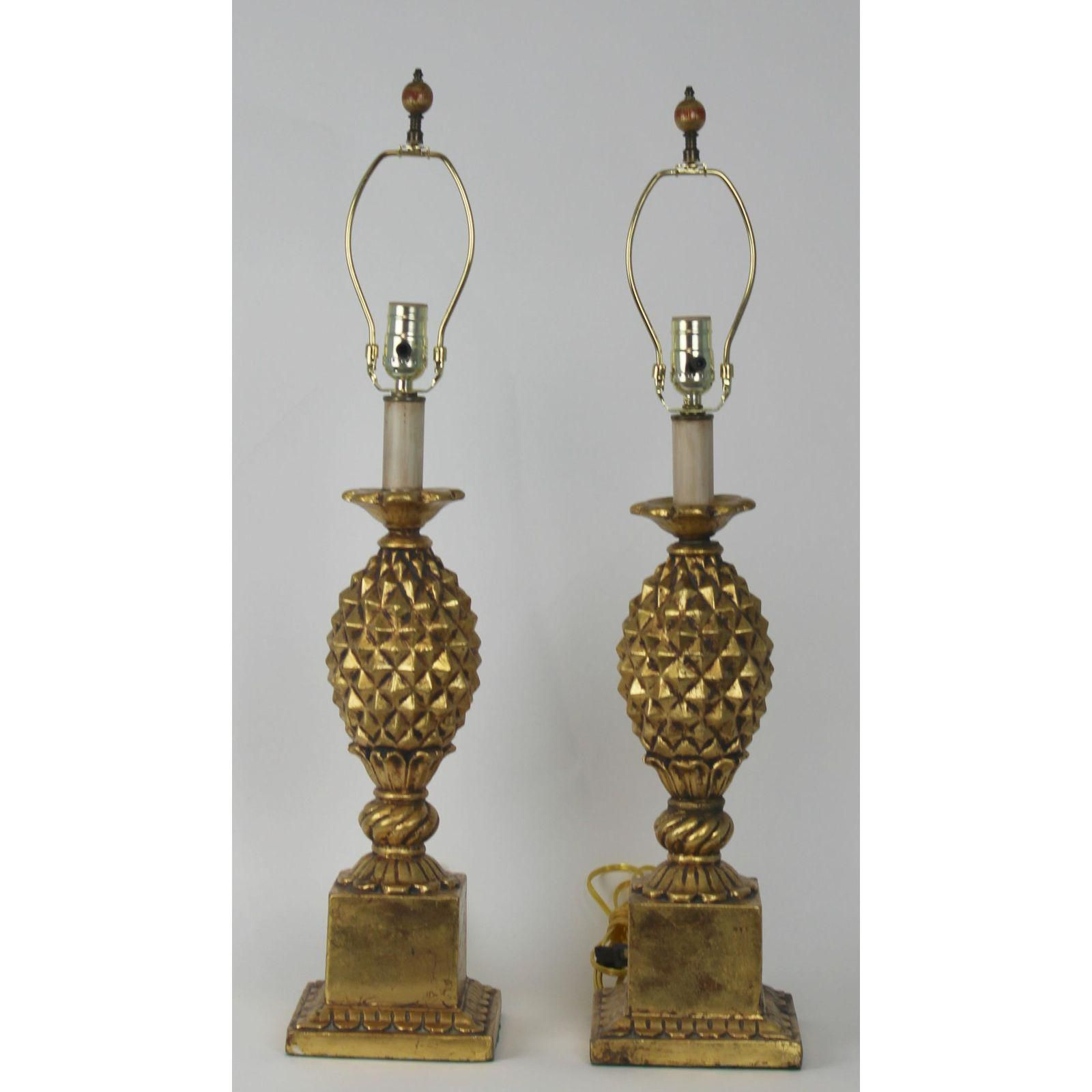 chairish lamp hollywood product way brass pineapple table antique regency