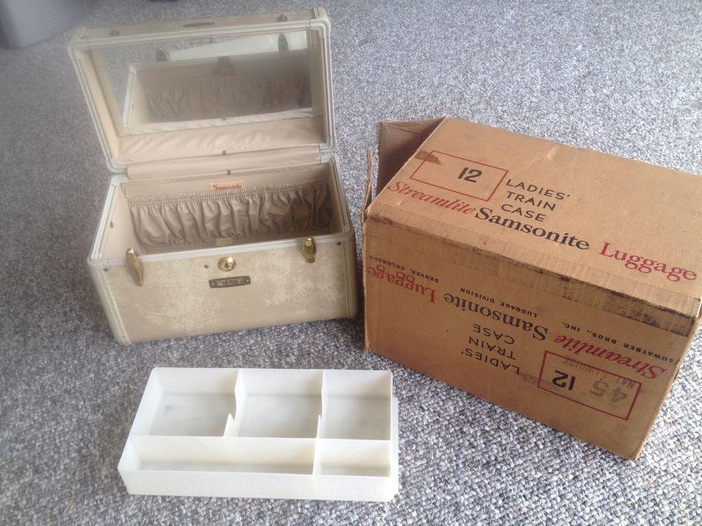 Vintage Samsonite Ivory Train Case Cosmetic Suitcase Luggage Carry On #Samsonite