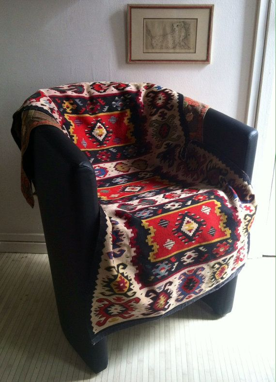 Antique Balkan Kilim Rugs Chair Throw Slipcovers Old Throne Cover Seat  Dressing Modern Decor Geometric Sarkoy