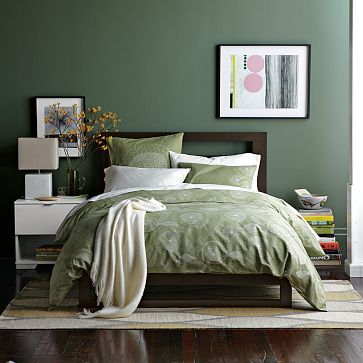 etched flower duvet cover shams earthy bedroombedroom greendream - Green Bedroom
