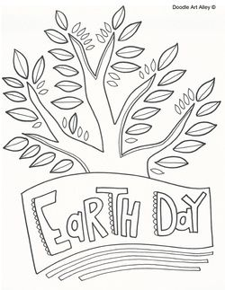 Holiday Coloring Pages Earth Day Doodle