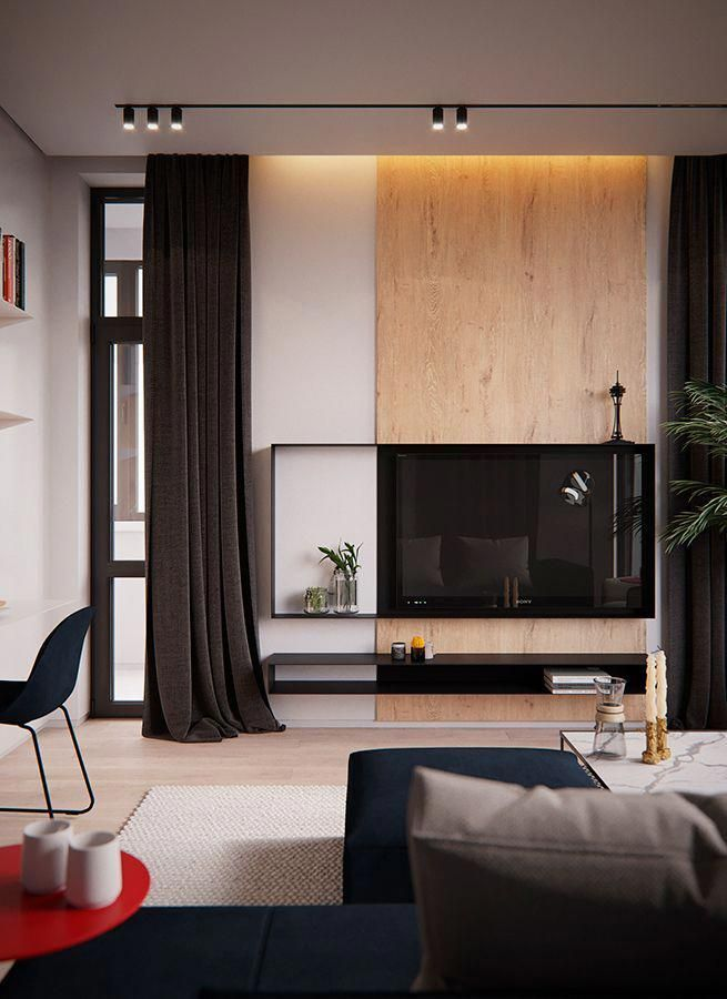 In Red Is A Living Room Design In A Kiev Apartment The