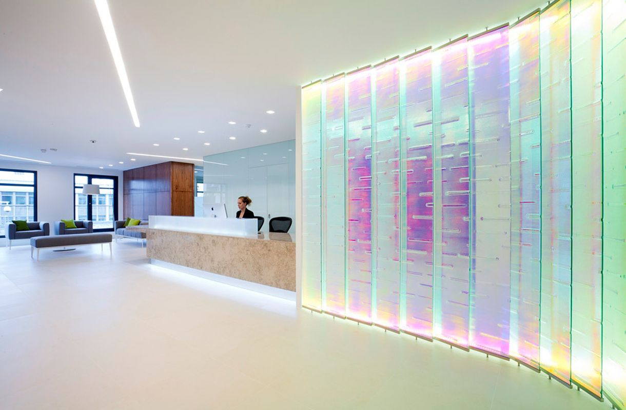 office feature wall. Contemporary Bespoke Glass Feature Wall For Office - Float Design