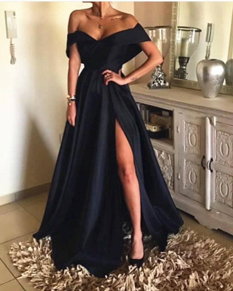 76d74cd97fa75 Elegant Off The Shoulder Black Satin Evening Dresses Long Women ...