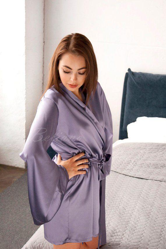 caae2cf6f Silk Robe short/Silk Robe Kimono/ PURE Silk Gown Woman/ Real Silk Satin  Lilac Bathrobe/ Silk Silk Li