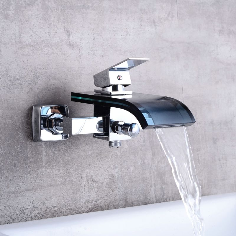 Free Shipping Waterfall Black Glass And Chrome Brass Faucet Wall