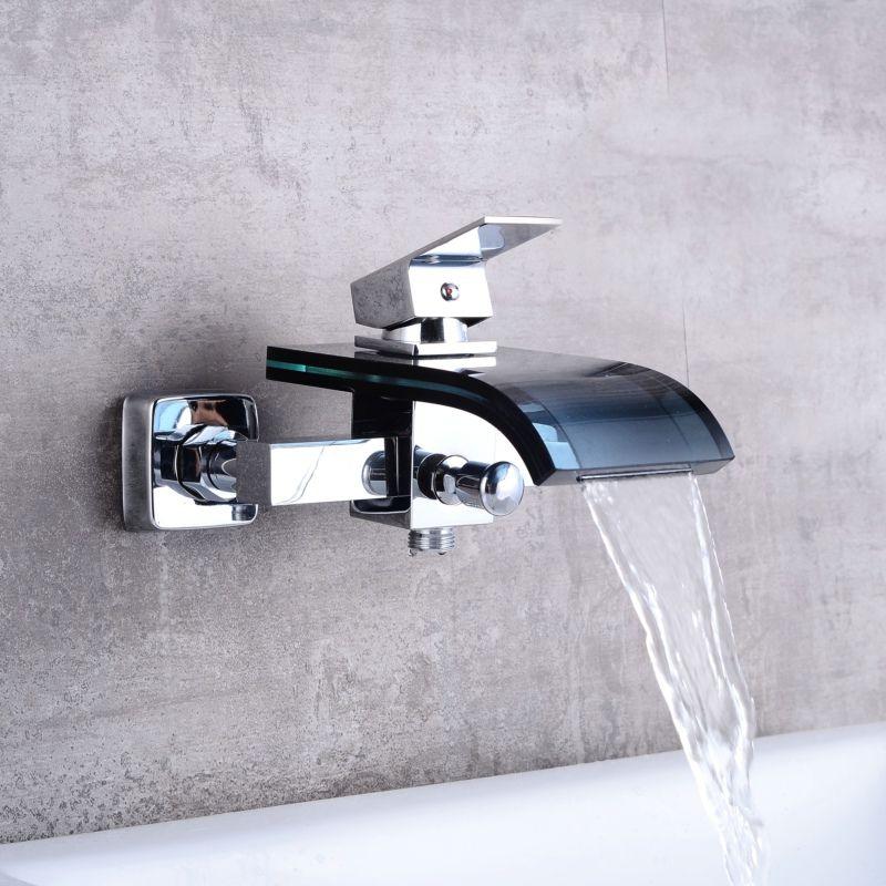 5 Hole Triple Handle Wall Mount Bathtub Faucet Color Changing Led