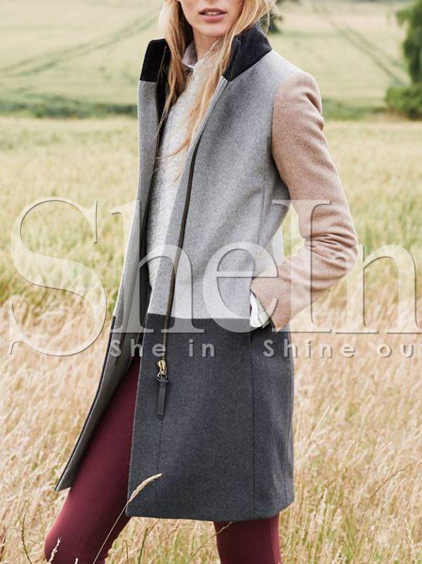 Grey Long Sleeve Pockets Color Block Coat 32.99