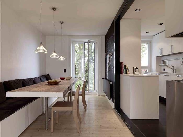 Extra long bench at dining table keuken eetkamer pinterest bench kitchens and interiors - Keuken met bank ...