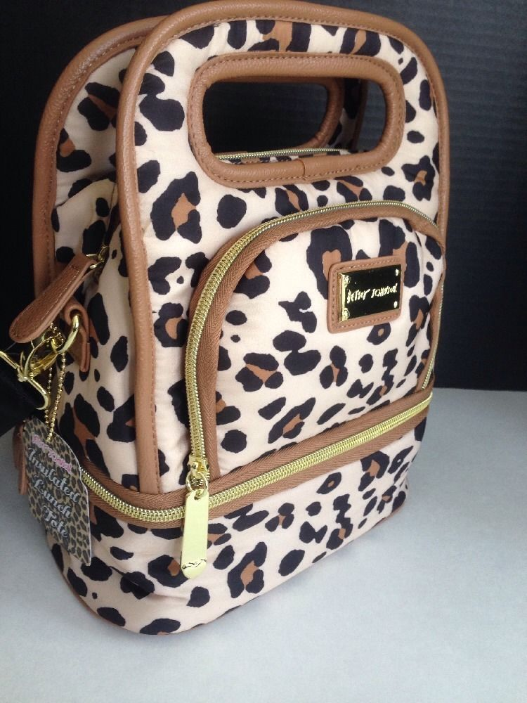 Nwt 58 Betsey Johnson Insulated Spotty Leopard Lunch Tote