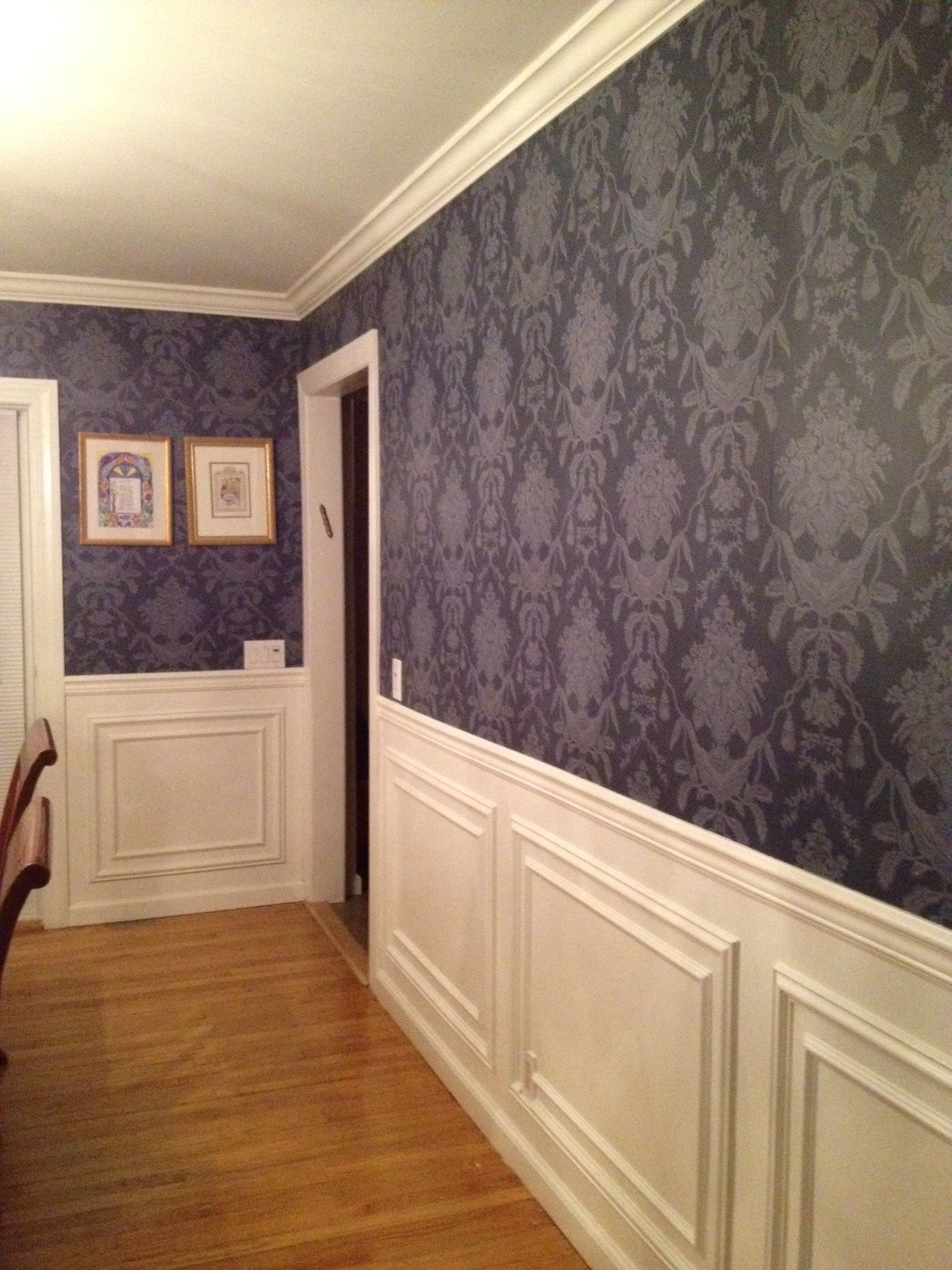 I love my Dining Room. Navy blue damask wall paper and new