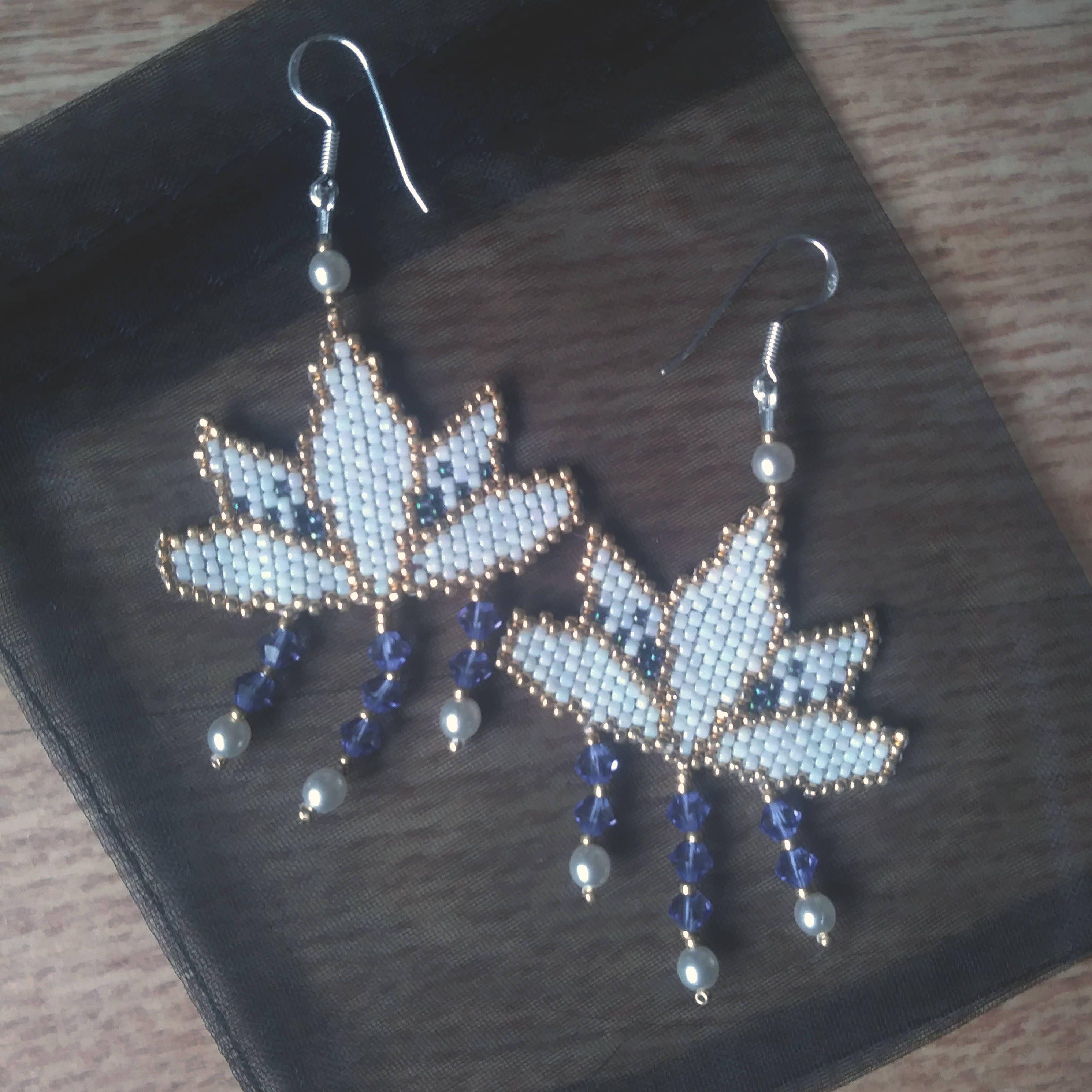 Water Lilly earrings , amulet, Lotus earrings / INBW