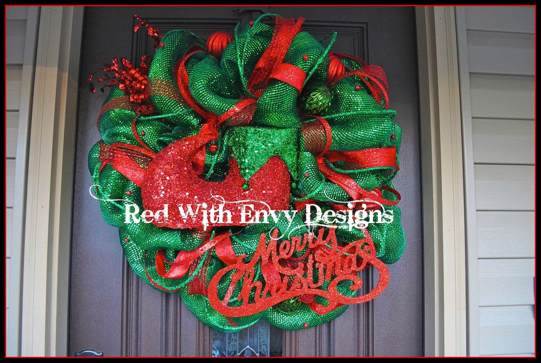 Lighted Christmas Wreath, Deco Mesh Wreath, Wreath, Lighted Wreath, Christmas, Christmas Decor, Christmas Decoration, Har, Hat Wreath, RAZ. $135.00, via Etsy.