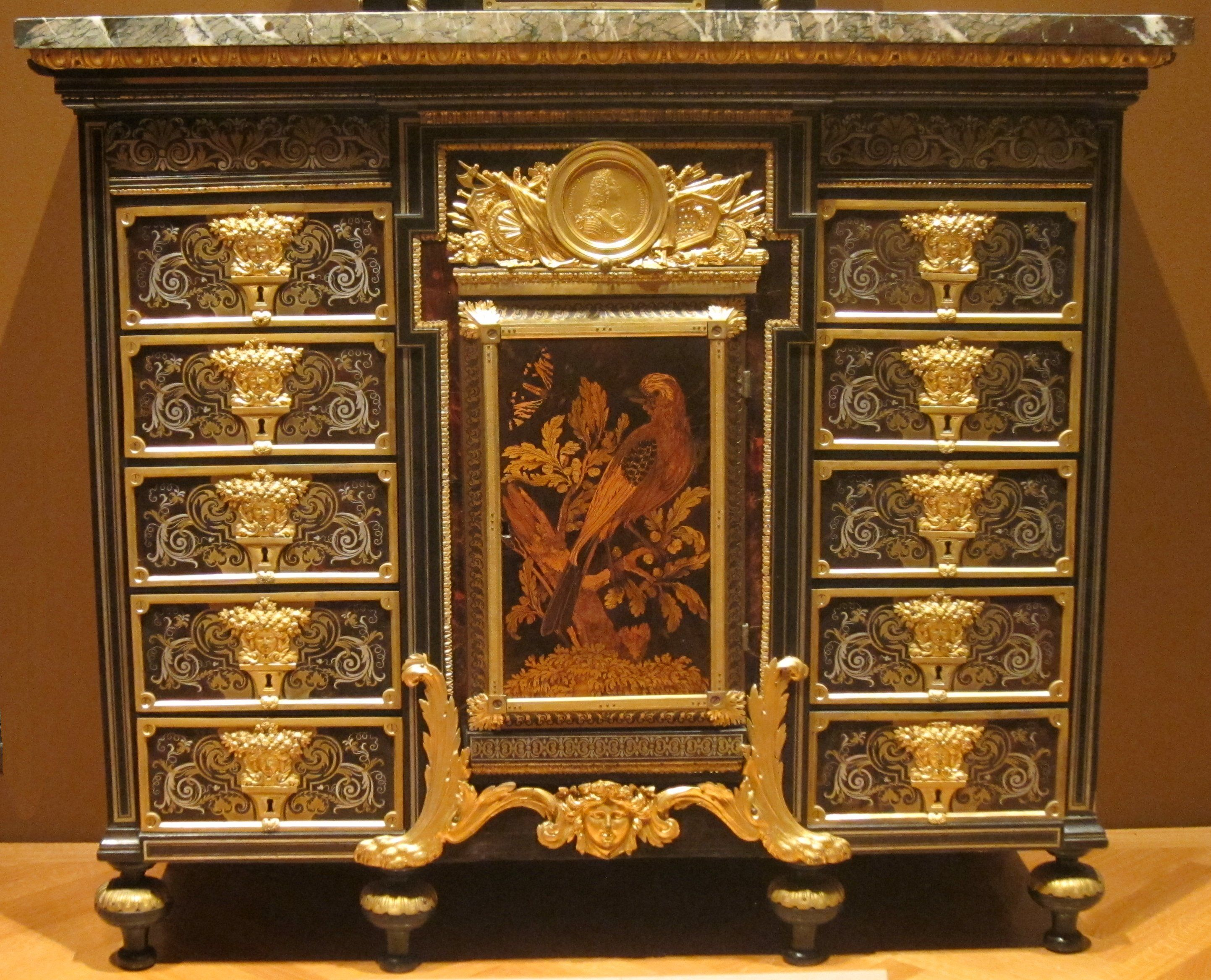 Antike Schränke Cabinet C 1690 Ebony Metal And Tortoise Shell André