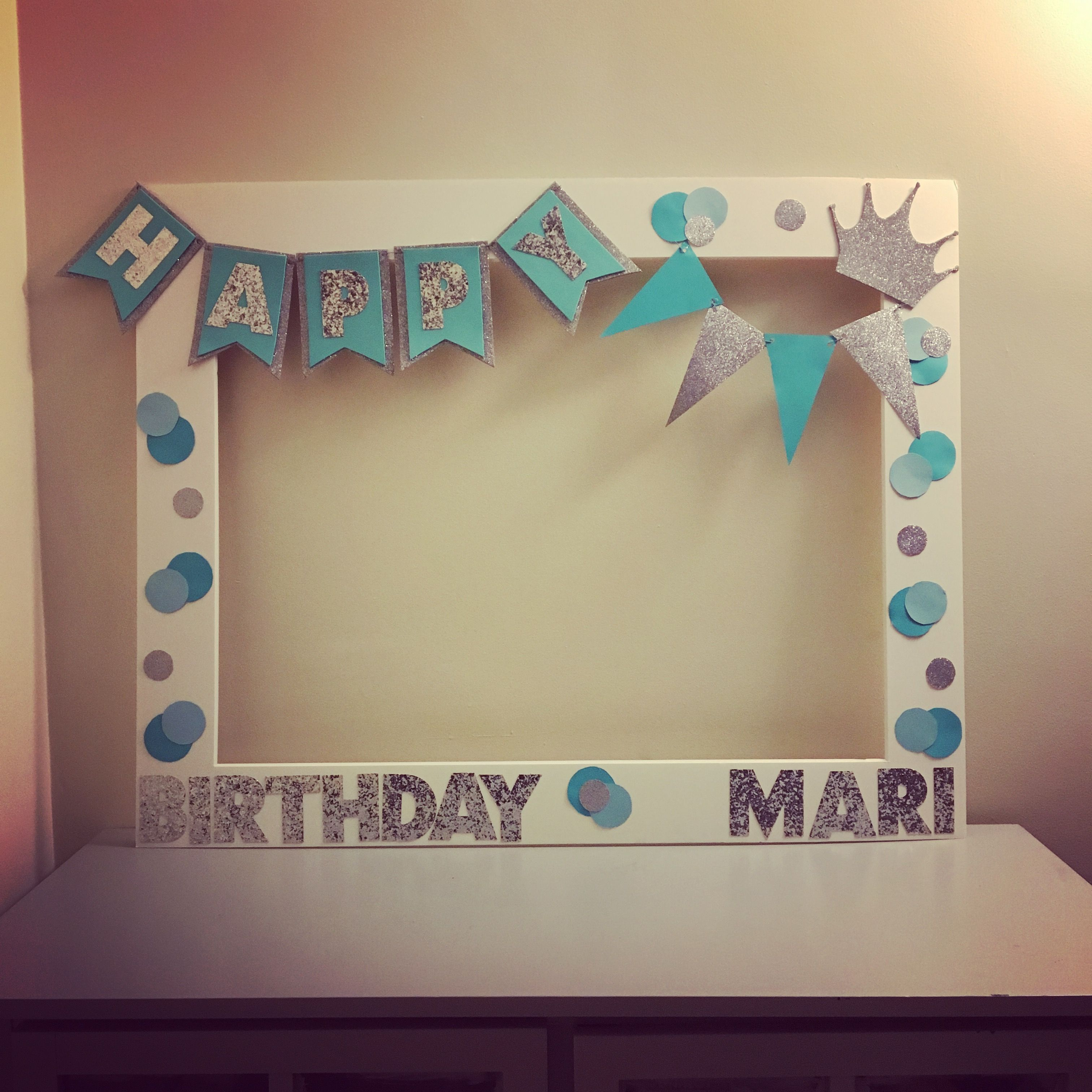 Diy Photo Frame Board Was Precut From Michaels Birthday Photo Frame Birthday Frames Party Photo Frame
